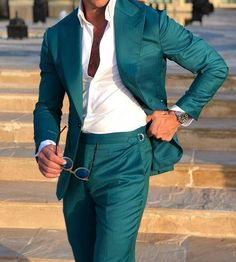 Mens Style Discover Mens Suit Slim Fit Tuxedo Prom Wedding Blazer Style Gentle Tailor Made 2 Piece Terno Mens Casual Suits, Mens Fashion Suits, Blazer Fashion, Mens Suits, Prom Suits For Men, Slim Fit Tuxedo, Tuxedo For Men, Groom Tuxedo, Green Suit Men