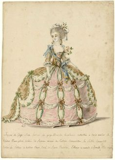1788. Court dress, Versailles.