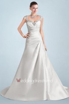 Splendid Beaded Ruched A-line Plus Size Wedding Dress with Buttons