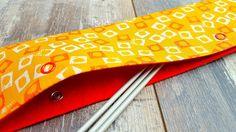 JAPANESE FELT DPN Holder Needle Cozy Mustard Yellow Red Orange