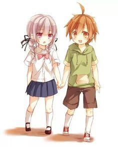 Naegi and Kirigiri - by muzuki-san98 on Tumblr