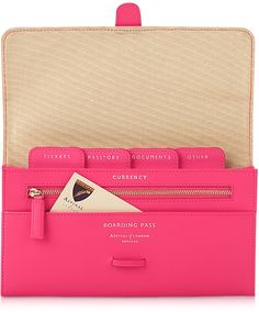 Aspinal of London Neon Pink Classic Travel Wallet