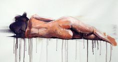 "Saatchi Art Artist Dario Moschetta; Painting, ""NUDE 8"" #art 10-3-16 11-1-16  Dario Moschetta utalizes  skin color paints to create this figure of a woman laying on her side. The only part of her body shown is her butt and back. The drips of paint are a media form that was used to create this look with watercolors.  he artist also utilizes a mixture of yellow and brown to create the tint which is presented on her body."
