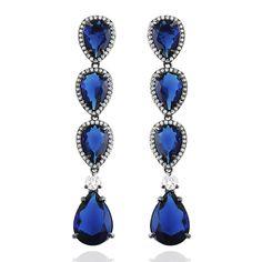 Brinco 30 Cinzia Longo Semi Joia Pedra Azul Safira Zirconias Folheado Rodio Negro festa (L-E2757WSHBK)
