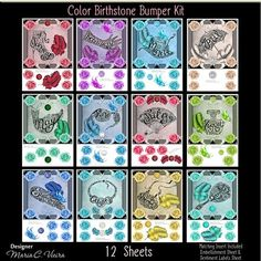 Color Birthstone 12 Sheet Bumper Kit on Craftsuprint designed by Maria Christina Vieira  - 12 Sheet Bumper 12 Month Birthstone Card Front Kit,Color birthstone bumper kit comes with 12 sheets,a great birthday set. Matching Insert kit coming soon:) - Now available for download!