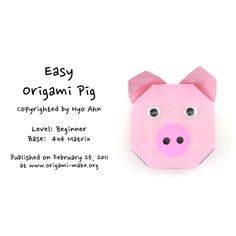 Introducing an Easy Origami Pig