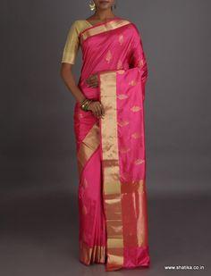 Vishala Golden Leaf Motif Real Zari Pure #BanarasiKataanSilkSaree