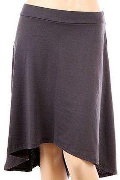 Solid Plain A Line Hi-Low Hem Skirt Banded High Waist Flare Bottom Stretch Skirt
