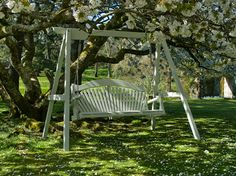 """I know just the spot for this lovely swing seat, now can I add it to my Birthday wish list? 3 seater Pine Garden Swing Seat in Farrow and Ball """"Mizzle"""" Garden Swing Seat, Hammock Swing, Pergola Swing, Diy Pergola, Porch Swing, Garden Swings, Corner Pergola, Hammocks, Pergola Plans"""