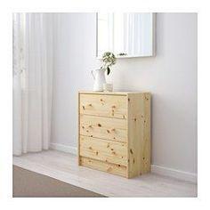 IKEA - РАСТ, Комод с 3 ящиками, , Чтобы необработанная поверхность из массива дерева служила дольше, ее можно обработать лаком, воском, морилкой или маслом.
