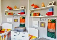 Decoração quarto de menino Cinza, laranja, azul e lindo! - Encantada