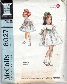 60s Vintage Sewing pattern McCalls 8027 Girls Dress & Petticoat