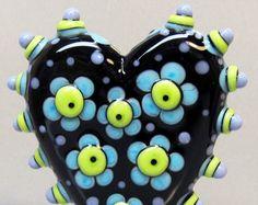 Turple & Green Flower Power HeartHandmade by beadygirlbeads, $37.00