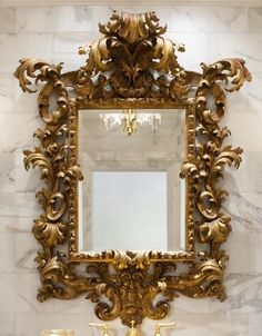 Close up of gilded mirror
