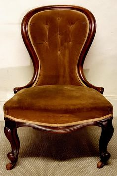 """If you can't find what you're looking for, upload a 'request and we'll do the rest"".  To view, purchase or sign up, click or copy into your web browser: www.lookingforantiques.co.uk  A lovely Early Victorian Mahogany Spoon Back Chair. Has been newly upholstered and recovered, with Cabriole legs on Porcelain castors. Circa 1840. Very comfortable!  £260 Inc Vat."