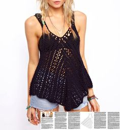 Crochet boho top PATTERN, written tutorial in ENGLISH for every row with chart, sexy crochet top pattern PDF, boho crochet beach top pattern Boho Crochet Patterns, Crochet Tunic Pattern, Top Pattern, Crochet Tank Tops, Crochet Summer Tops, Crochet Blouse, T-shirt Au Crochet, Tops Boho, Crochet Fashion