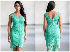 This jade lace dress has a cute high low cut:  http://ss1.us/a/YE6IHci6