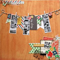 Great idea for a banner!  Use a collection of pictures and scrapbook papers to create a banner for Luke's graduation party.