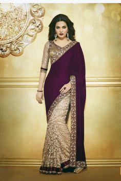 Dark maroon &Beige Colour Half Velvet &  Brasso Designer Sarees