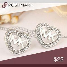 💥HOT SALE💥 Michael Kors Silver Heart Earrings 💥HOT SALE💥 Michael Kors Silver Heart Logo Earrings Michael Kors Jewelry Earrings