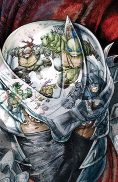 Batman/Teenage Mutant Ninja Turtles - Comics by comiXology Comic Book Covers, Comic Books Art, Comic Art, Book Art, Ninja Turtles Art, Teenage Mutant Ninja Turtles, Batman Vs, Arte Dc Comics, Tmnt Comics