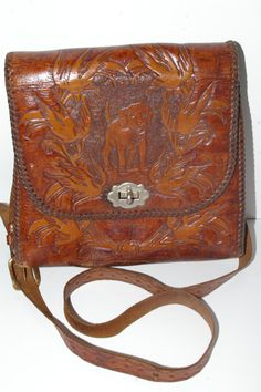 Cutest Tooled OOAK Leather Handbag Intricate by RosemyneVintage, $35.00