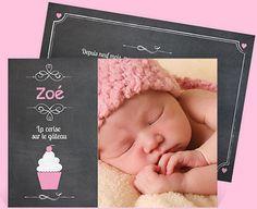 Faire-part naissance réf. N14106 chez monFairePart.com 1E19 enveloppes blanches comprises Noblesse, Photo Cupcake, Html, Decoration, Inspiration, Collection, Slate, Envelopes, Smile