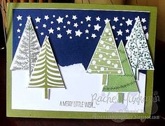 Cool and Festive. This Christmas card is certain to get you in the holiday spirit pretty quick. It uses Stampin' Up!'s Fesitival of Trees stamp set and coordinating punch. It comes together pretty quickly. Check out my blog for more details: www.rachelsstampingplace.blogspot.com