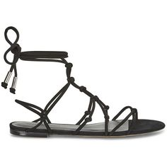 Rebecca Minkoff Elyssa Sandal (470 SAR) ❤ liked on Polyvore featuring shoes, sandals, black, t-strap flats, black strappy sandals, suede lace up flats, strap sandals and black strappy flats