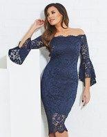 1acb26e73a1 Buy Sistaglam Loves Jessica Lace Bell Sleeve Bardot Bodycon Dress from Next  Ireland