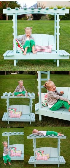 Build A Children'S Arbor Bench-ANA WHITE - Here is a crafty design that is fun to build. An outdoor project made especially for kids to enjoy, relax, and sit comfortably in a Children's Arbor bench from the plans of Ana White. Outdoor Projects, Pallet Projects, Home Projects, Craft Projects, Project Ideas, Ana White, Arbor Bench, Kids Bench, Palette Deco