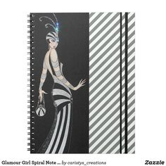 Glamour Girl Spiral Note Book Custom Notebooks, Black Decor, White Elephant Gifts, Dog Design, Vintage Paper, Funny Cute, Spiral, Girl Fashion, Art Pieces