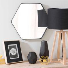 GARY hexagonal metal mirror, black, W 50 cm