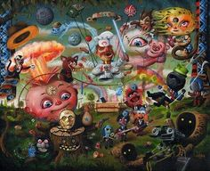 Mark Brown conjures up many pop surrealism delights. Ah, the wild cacophony of colorful characters. Surrealism Painting, Pop Surrealism, Arte Lowbrow, Surealism Art, Mark Brown, Arte Alien, Psychedelic Drawings, Brown Art, Arte Horror