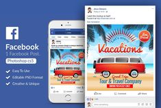 Tour & Travel Facebook Post by Design Up on @creativemarket
