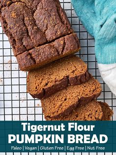 This healthy Tigernut Flour Pumpkin Bread recipe is Paleo and Vegan; egg free, dairy free, grain free and gluten free.  It's a delicious, lightly sweetened pumpkin bread; perfect for breakfast or a healthy snack. #tigernut #paleo #vegan Paleo Pumpkin Bread, Paleo Bread, Healthy Pumpkin, Pumpkin Pie Spice, Pumpkin Puree, Bread Recipes, Free Paleo Recipes, Flour Recipes, Paleo Flour