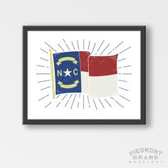 Red And Black Nc Flag Print Piedmont Brand Workshop