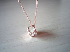 rose gold necklace- Square necklace- sweet necklace-perfect gift for you or friends. $12.00, via Etsy.