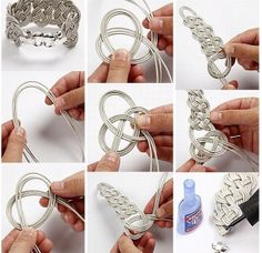 DIY Bracelet - could I use bass strings or guitar strings for this? Guitar String Jewelry, Music Jewelry, Jewelry Crafts, String Crafts, Diy Crafts, Beaded Jewelry, Handmade Jewelry, Jewellery, Bijoux Fil Aluminium