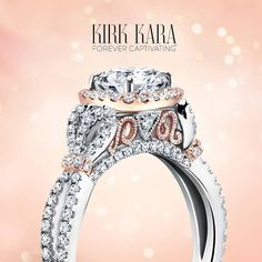 Kirk Kara engagement ring from the Pirouetta collection Two Tone Engagement Rings, Beautiful Engagement Rings, Rose Gold Engagement Ring, Wedding Jewelry, Wedding Rings, Moissanite Diamonds, Fine Jewelry, Jewellery, White Gold