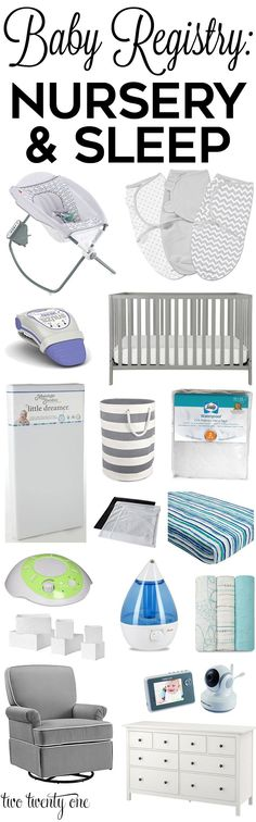 Must have baby registry nursery and sleep products! From swaddles to gliders, these are the most popular baby products to include on your baby registry.