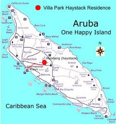Map of Aruba showing where things are located on the island | Aruba ...