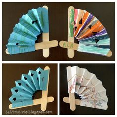 Fans made with lolly sticks and paper