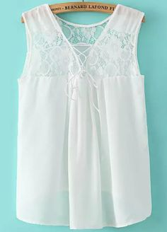 White V Neck Lace Loose Blouse 14.33