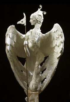Harpy Sculpture by Forest Rogers. Harpies - Winged monsters with the bodies of birds and the heads and torsos of women.