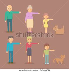 Flat vector characters. Mom, dad, grandma, grandpa, son, daughter, dog, cat family character set. Family portrait at the simple style.