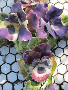 ceramic pansies on grave of Edith May BAKER by SandyEm, via Flickr