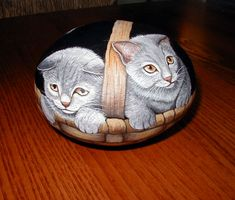 Basket of kittens, hand painted stone...