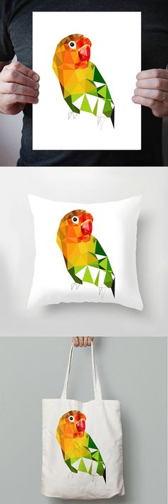 SALE 20% off  B72  Lovebird  Geometric bird art print by villavera