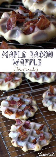These ridiculously yummy waffle donuts are a bit sweet and salty, and a whole lot of delicious! Yummy Waffles, Bacon Waffles, Bacon Donut, Delicious Donuts, Yummy Food, Healthy Donuts, Waffle Donut Recipe, Waffle Iron Recipes, Bacon Recipes